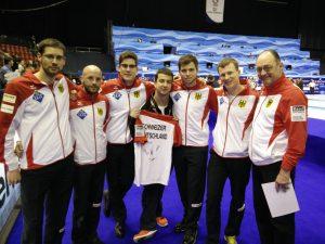 L'équipe allemande de gauche à droite)/Team Germany (from left to right): Manuel WALTER (second), Alexander Baumann (vice), Daniel ROTHBALLER (third), Marc MUSKATEWITZ (skip), Sebastian SCHWEIZER (alternate), Thomas LIPS (coach)