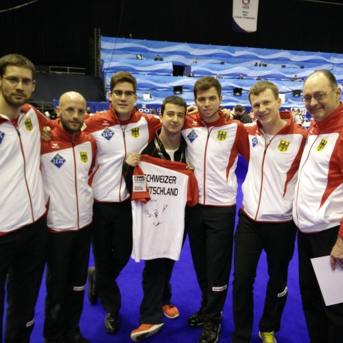 T-shirts and jackets during World Men's Curling Championship 2016 in Basel (Switzerland)